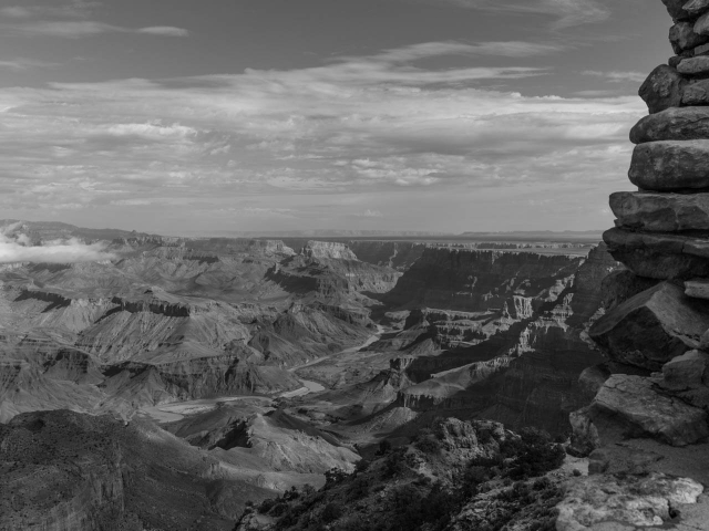 Grand Canyon colorado river schwarz weiss